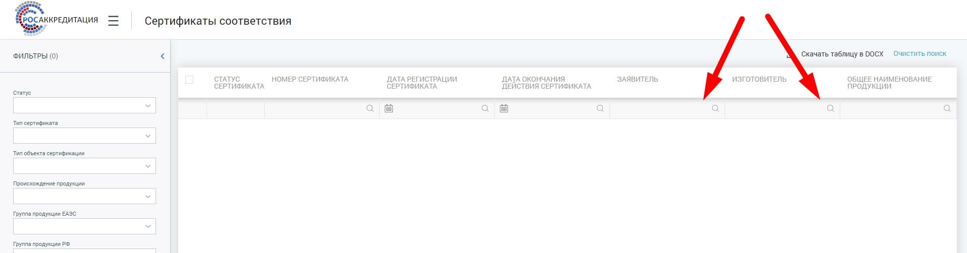 Фрагмент Реестра сертификатов соответствия с сайта Росаккредитации