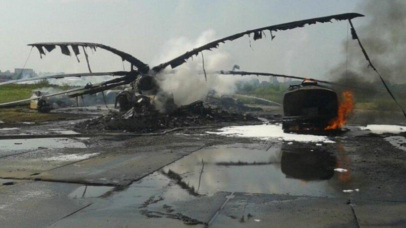 Сгоревший вертолет Ми-26