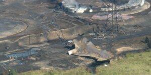 Фрагмент резервуара после взрыва РВС-20000