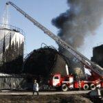 Тушение нефтебазы под Киевом в 2015 году